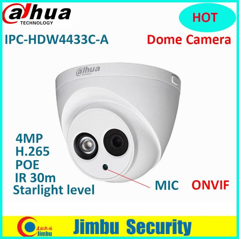 Dahua 4MP POE Starlight IP Dome Camera IPC-HDW4433C-A 4MP Built in Micro IP67 IR30m Network CCTV Camera Replace IPC-HDW4431C-A dahua 6mp ip camera ipc hdw4631c a poe network camera with built in micro upgrade model of 4mp camera ipc hdw4431c a