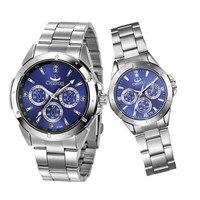 Пара часов для влюбленных нержавеющая сталь 1 пара Женские часы Мужские Женские кварцевые наручные часы набор подарок Любителя часы для мальчиков и девочек 45
