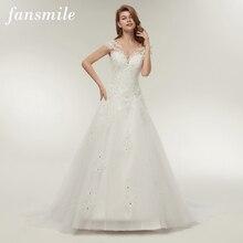Fansmile Tüll Mariage Vestidos de Novia Stickerei Spitze Meerjungfrau Hochzeit Kleid 2020 Brautkleider Plus Größe Angepasst FSM 138M