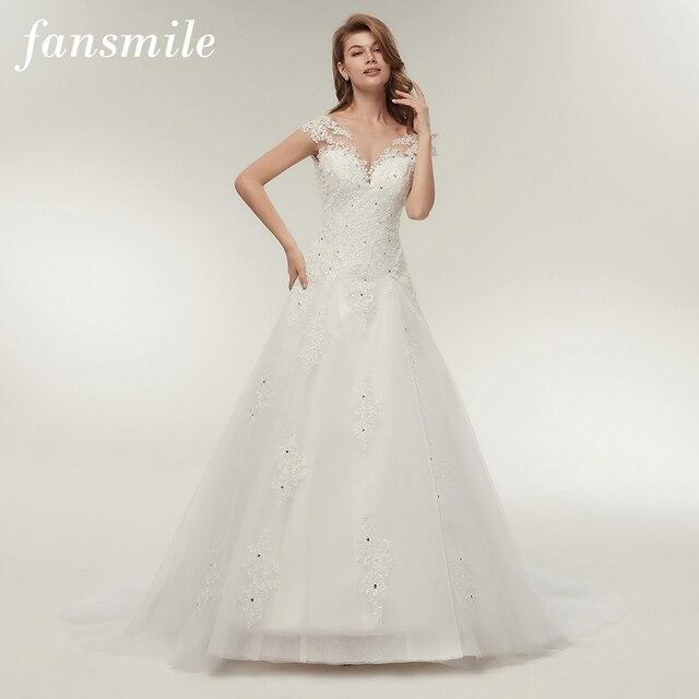 Fansmile Tule mariage Vestidos de Novia Lace Bordados Mermaid Vestido de Noiva 2019 Vestidos De Noiva Plus Size Personalizado FSM-138M