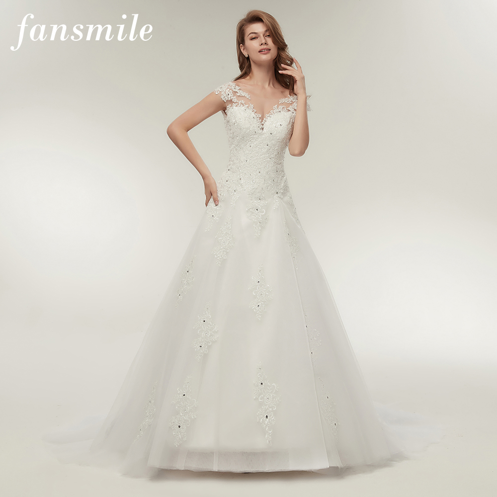 Fansmile Tulle Mariage Vestidos De Novia Embroidery Lace Mermaid Wedding Dress 2020 Bridal Gowns Plus Size Customized FSM-138M