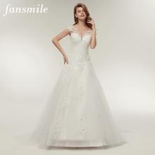 Fansmile tül Mariage Vestidos de Novia nakış dantel Mermaid düğün elbisesi 2020 gelinlikler artı boyutu özelleştirilmiş FSM 138M