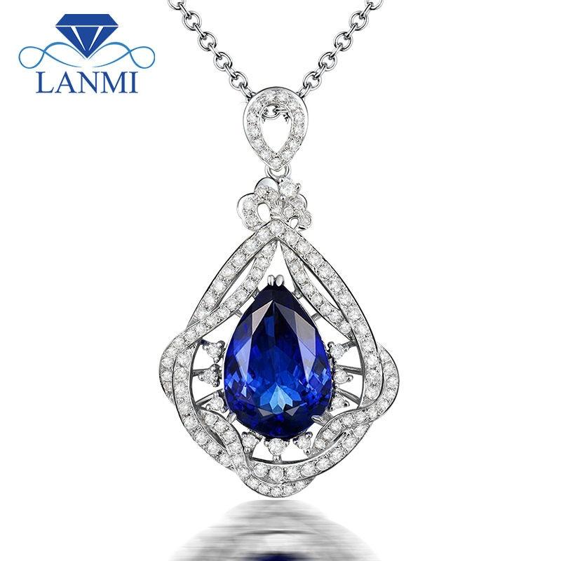 Luxury Jewelry Pear Cut Natural Diamond Tanzanite Gemstone Pendant In 14Kt White Gold Jewelry for Women Gift WP073