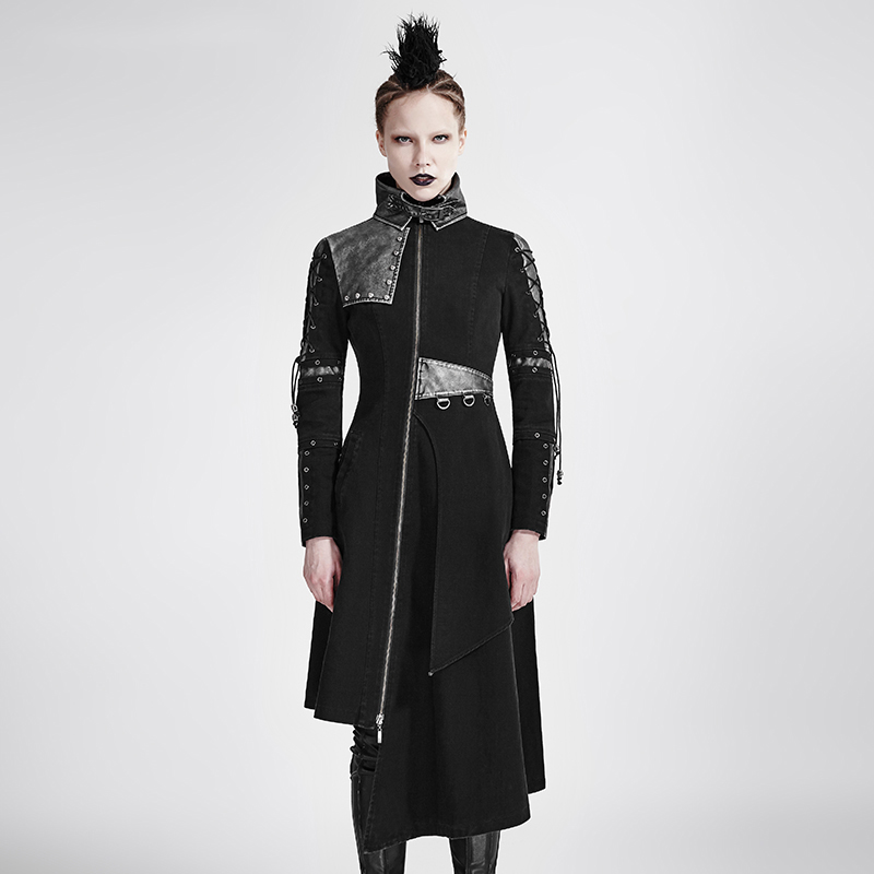 2017 Punk Women Asymmetric Hem Jackets Coat Steampunk Gothic Black Pu   Leather   Long Jacket Trench