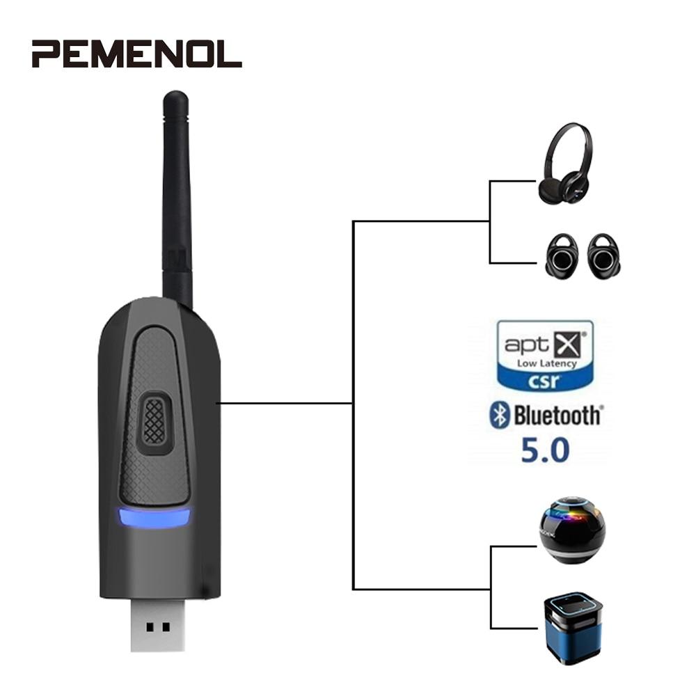 Adaptador sem fio Bluetooth 5.0 Transmissor de Áudio Aptx Baixa Latência de Longo Alcance TV PC Driver-Free USB Dongle Transmissor de Áudio nova