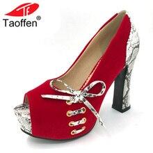 TAOFFEN/Для женщин высокая женская обувь на каблуках острый носок шесть Цвет женские пикантные свадебные туфли-лодочки на высоком каблуке обувь Размеры 33-43 P19243