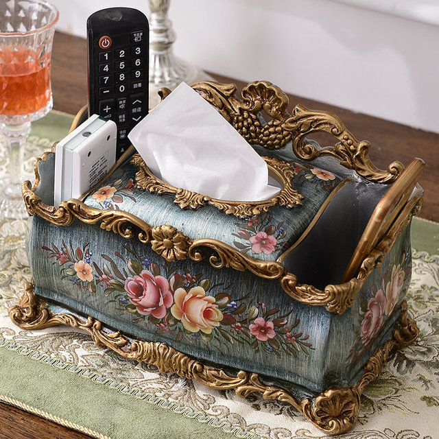 living room, fashionable American style simple hand-painted resin paper towel box, paper box, paper towel cylinder