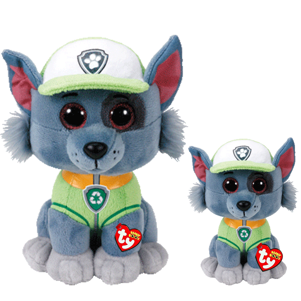 Plush Dolls Ty Beanie Boos 6/15cm & 10 25cm ROCKY the Patrol dog Stuffed Animal Collection Soft Big eyes Toys Gift gonlei ty beanie boos original big eyes plush toy doll child birthday gray elephant fish ty baby 10 15cm