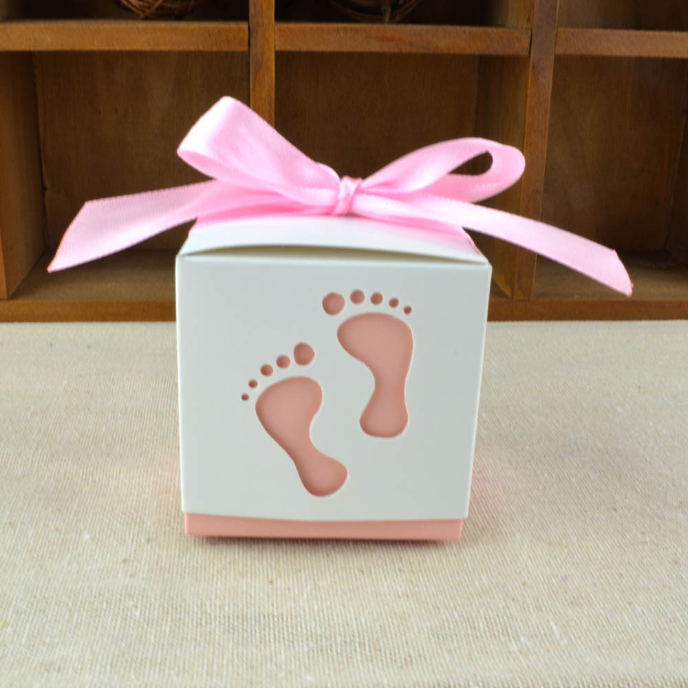 New 50 PCS baby shower favor baby feet foot candy boxes gift boxes ...