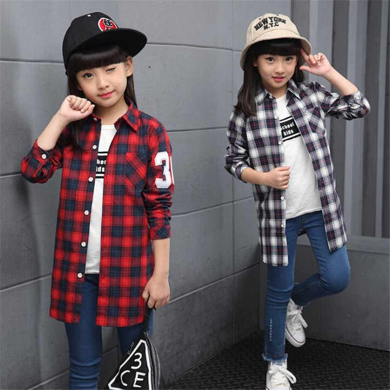 75c5bec76 girls school shirts 2017 spring and autumn hot fashion classic children  long shirt 4-13