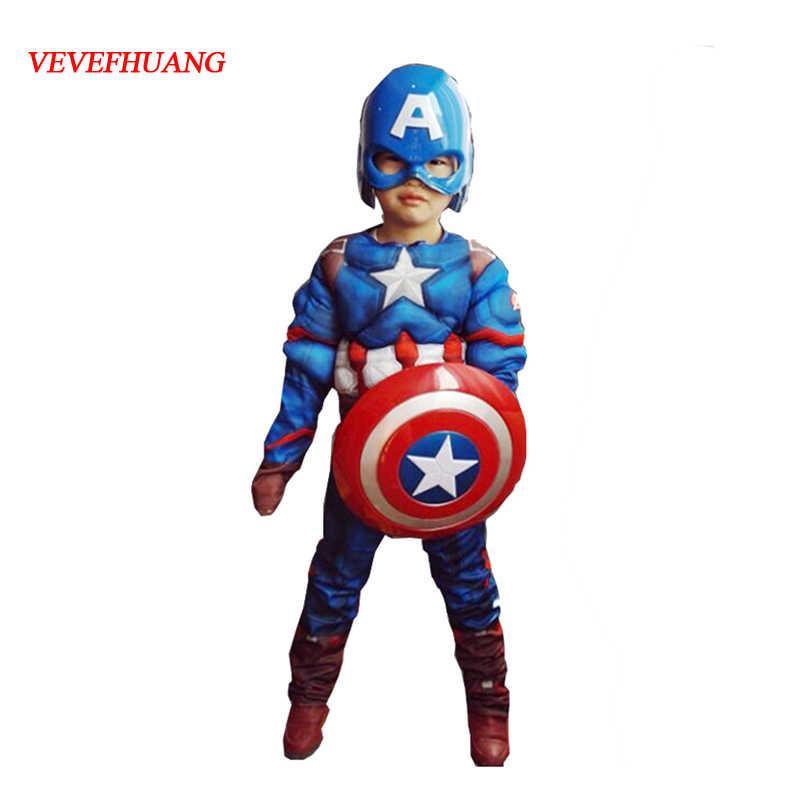 VEVEFHUANG Super hero เด็กกล้ามเนื้อกัปตัน America Avengers เด็กคอสเพลย์ Super hero ฮาโลวีนเครื่องแต่งกายสำหรับเด็ก