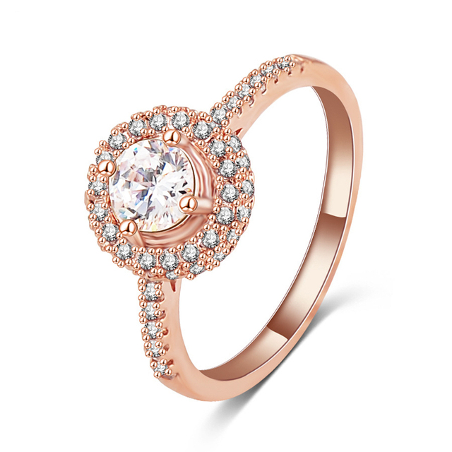 BEIMAI Classic Cubic Zircon Rings For Women Wedding Rose Gold Color