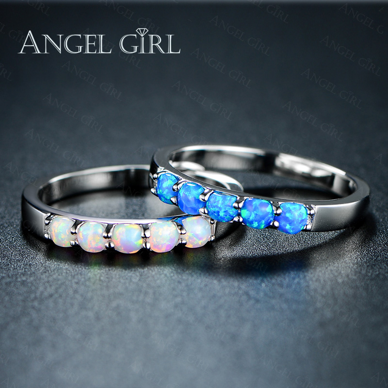 AngelGirl Simple Ring Round White Pink Blue / white Fire opal rings for Women Trendy Engagement Wedding opal ring fashion Jewelry