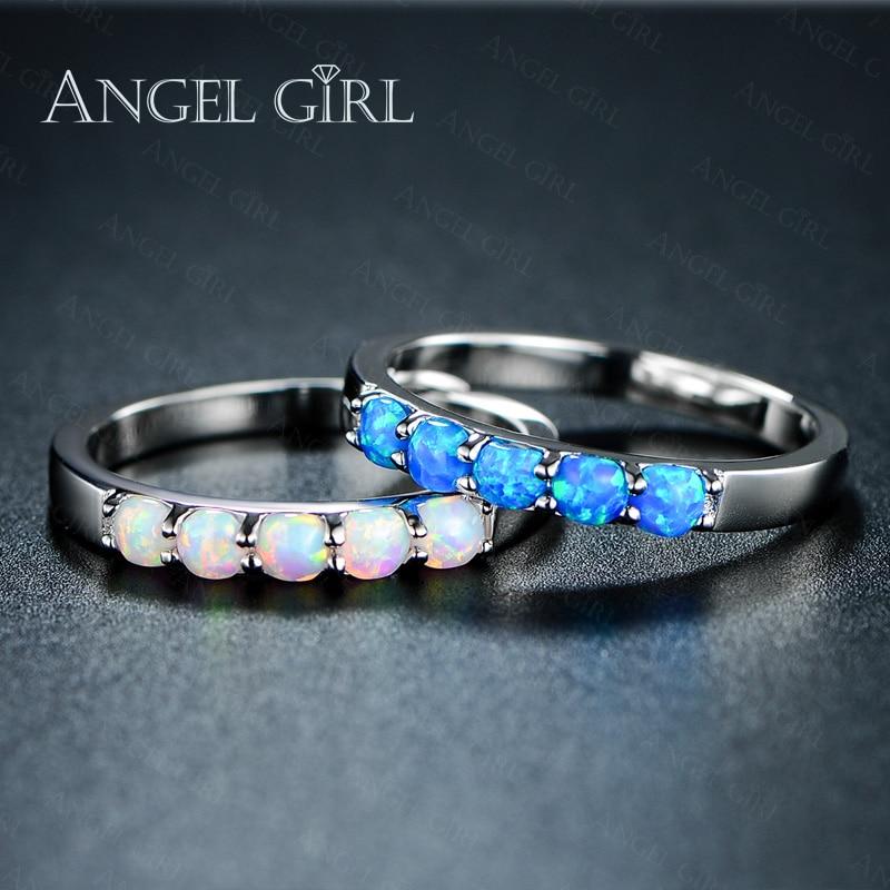 AngelGirlシンプルリングラウンドホワイトピンクブルー/ホワイトファイヤーオパールリング女性用トレンディエンゲージメントウェディングオパールリングファッションジュエリー