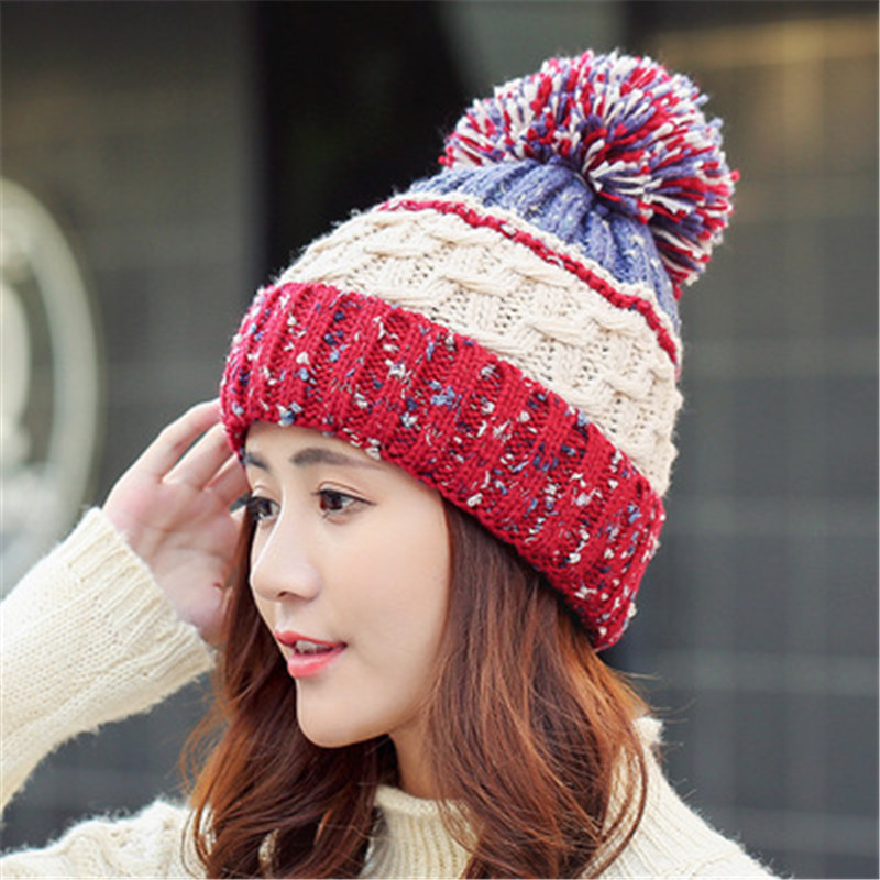 Skullies & Beanies  Beanies Knit Hat Female Cap Winter Hat For Women Beanie Headgear Warm pom pom hat winter hats for women 2pc skullies