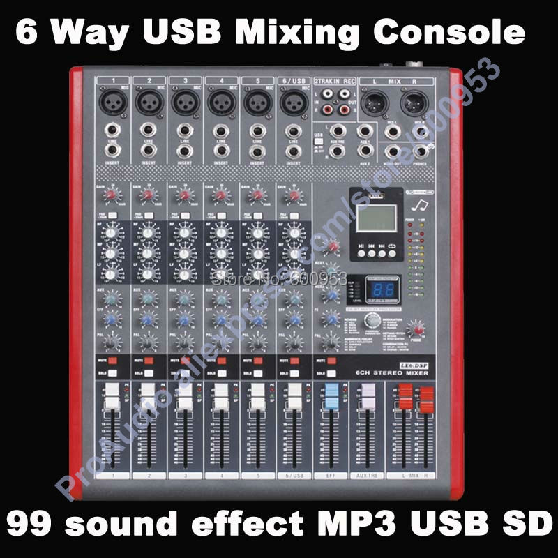 buy pro 6 channel usb mixing console studio audio mixers mixer multi fx. Black Bedroom Furniture Sets. Home Design Ideas