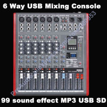 лучшая цена Pro 6 Channel USB Mixing Console Studio Audio Mixers Mixer Multi-FX Processor 99 digital audio-effect MP3 SD