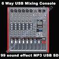 Pro 6 Kanal USB Mischpult Studio Audio Mischer Mixer Multi-FX Prozessor 99 digital audio-wirkung MP3 SD