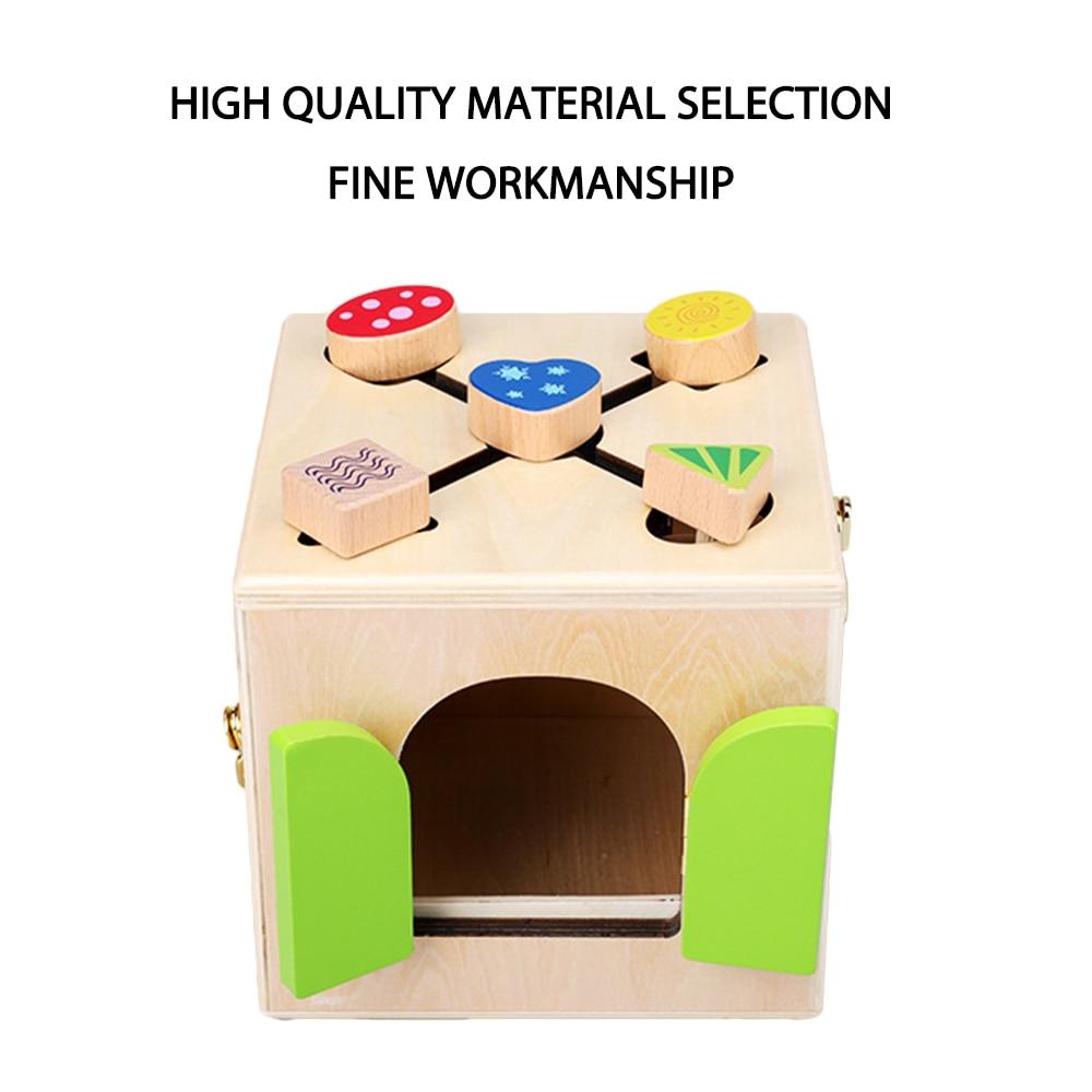 Jouets Montessori en bois boîte de verrouillage pratique jouet Montessori matériaux éducation jouets sensoriels en bois 3 ans enfants jeux cadeaux - 3