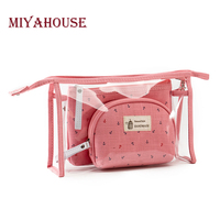 Miyahouse 3pcs Set Fashion Brand Cosmetic Bags Waterproof Neceser Portable Make Up Bag Women PVC Pouch