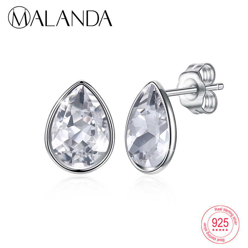 все цены на MALANDA Water Drop Crystals From Swarovski Stud Earrings 925 sterling silver Earrings Fashion Piercing Earring Jewelry Beat Gift