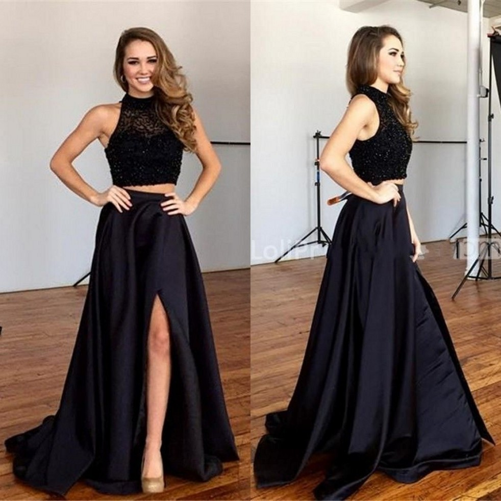 Aliexpress.com : Buy Long Black Prom Dress Beaded Bodice ...