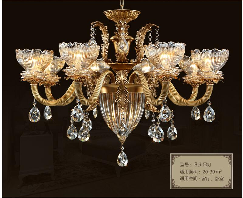 European Bronze Antique Crystal Chandelier Lingting Luxurious Brass Crystal Lamp Lustre Suspension E14 LED Light AC Lighting