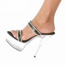 Crystal Shoes Transparent Platform Womens Rhinestone Night Club Model Walking Show Super High Heel Slippers SJ0003