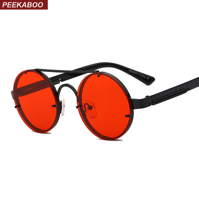 0466f5483af Detail Feedback Questions about Peekaboo red lens sunglasses men round  vintage 2018 steampunk sun glasses for women gold silver metal flat top  uv400 on ...