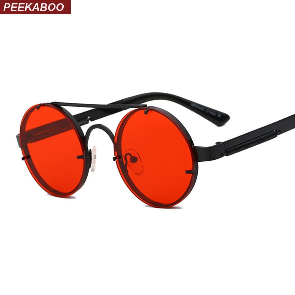 1651b8f2376e Peekaboo rojo lente gafas de sol los hombres vintage 2018 steampunk ...
