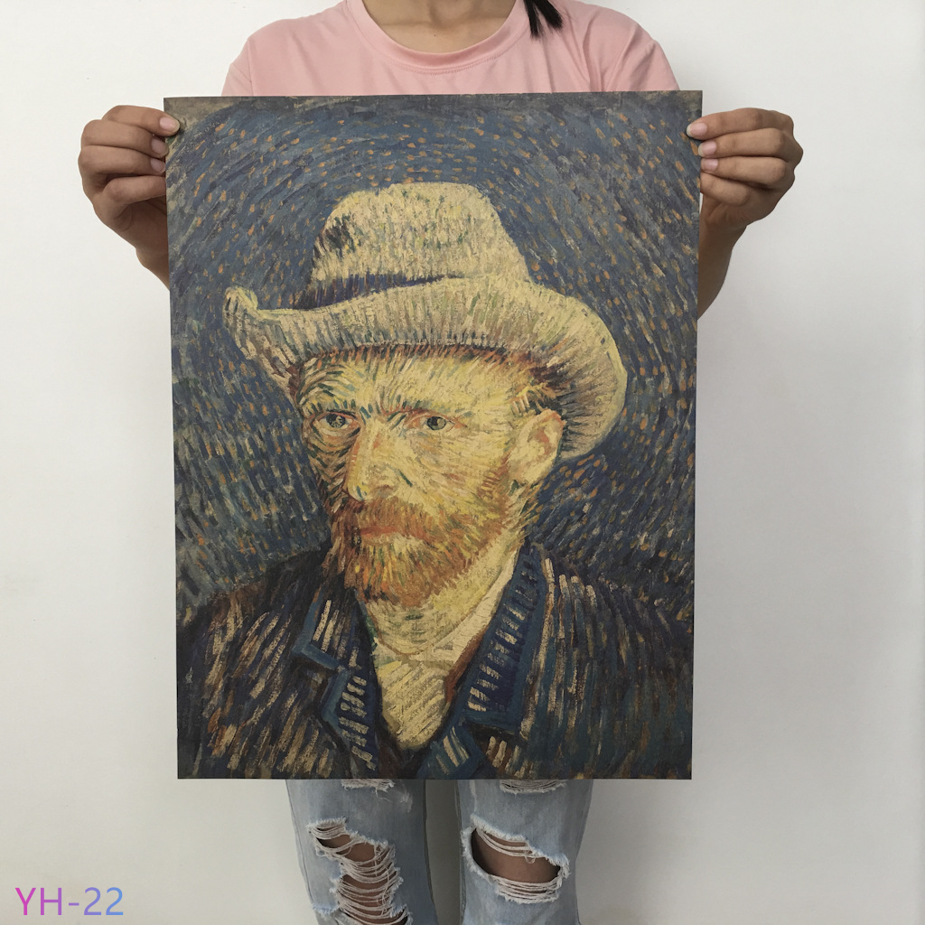 New Van Gogh Monet Oil Poster Vintage Classic  Kraft Paper Poster Painting Wall Stickers Home Decorative