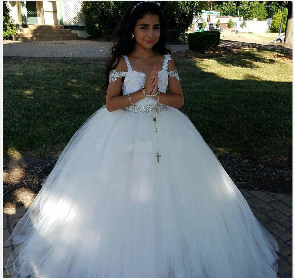New 2018 White Ball Gown   Flower     Girl     Dresses   For Wedding Spaghetti Straps Tulle with Beads First communion   dresses   For   Girls