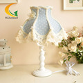 Bedside lamp bedroom Mediterranean pastoral European country decorative vintage fabric lace table lamp