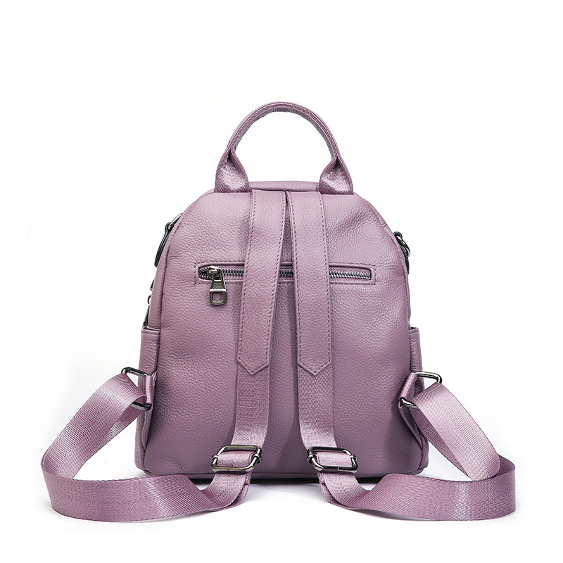 80b02f6f5125 2018 New Backpacks Women s Bag Genuine Leather Cute Round Shape Bag 100% Top  Layer of Calfskin Small Backpack Soft Leather-in Backpacks from Luggage    Bags ...