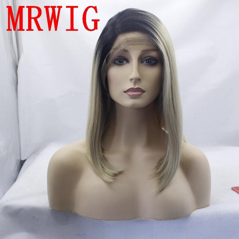 MRWIG corta bob recta peluca sintética cabello rubio 1b # ombre 27 # - Cabello sintético