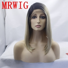 MRWIG short bob straight synthetic wig blonde hair 1b#ombre 27#mixed #613 right side part 12in short dark roots for black woman short side bang mixed color outstanding synthetic hair wig for women