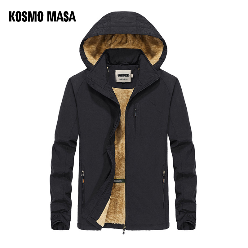 KOSMO MASA Black Fur Parka Men Coats Winter Jacket Mens Cotton Zipper Military Long Sleeve Hooded Casual Down Parkas 5XL MP027