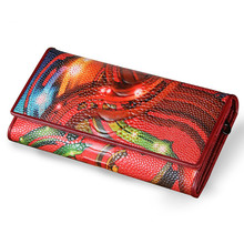 High Quality printing Wallet Women Long Design Lady Hasp Clutch Wallet Genuine Leather Female Card Holder Wallets Coin Purse