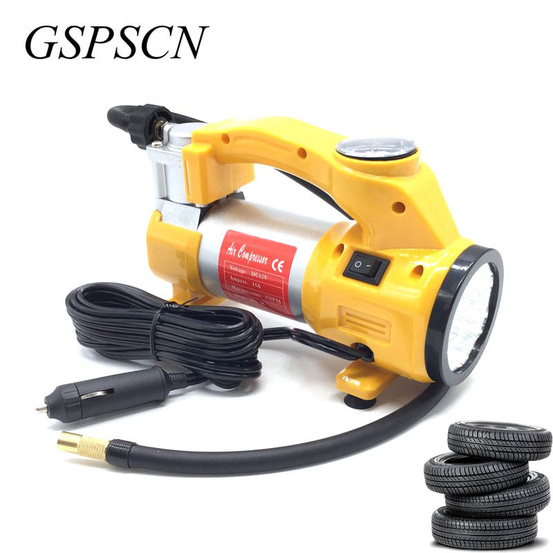 GSPSCN Portable 12V Air Compressor Car Tyre Inflator Heavy Duty Pump Tire Inflator Car Tool Inflatable Pump With LED Light 12v 160psi portable digital car auto tyre pump tire inflator with light electronic air compressor inflator pump