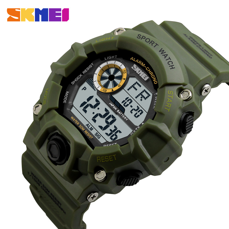 SKMEI Outdoor Sport Watch Men Alarm Clock 5Bar Waterproof Military Watches LED Display Shock Digital Watch Reloj Hombre 2019