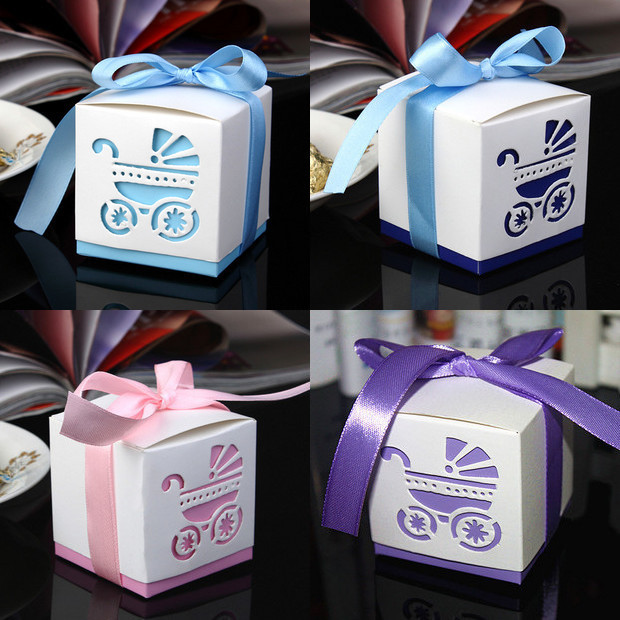 20pcs Laser Cut Wedding Candy Box Personalized Blue Baby