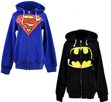 2015 Hot новых людей весна осень с капюшоном супергероя бэтмена супермен толстовка черный капюшоном синяя толстовка продажа