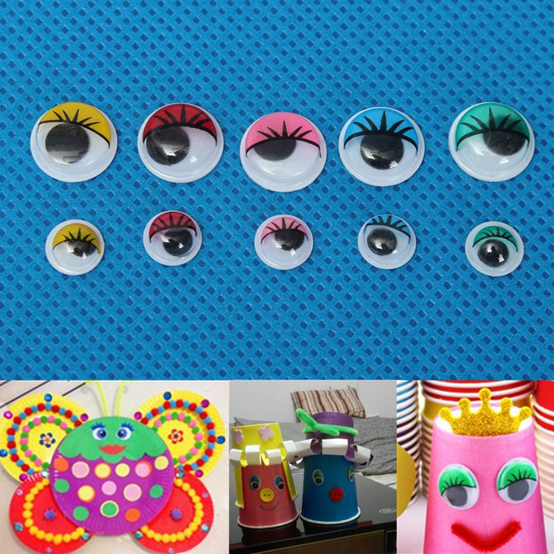 100pcs 8mm/12mm Eyelashes Wiggly Wobbly Googly Eyes For DIY Craft Decoration Doll Toys Colorful Movable Eye Dolls Accessories цены онлайн