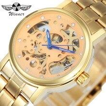 VENCEDOR de Luxo Da Marca Top Mulheres Relógios Auto Mecânica Relógio de Aço Inoxidável Correia de Ouro Esqueleto Dial Cristal Decorado montre