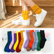 KingDeng 5 Pairs of Socks Stack of Sock Cotton Japanese Candy Solid Solor  High Tube Knee  Harajuku Fashion Design Cute Women