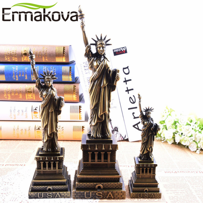 ERMAKOVA Vintage Metal Statue Of Liberty Replica Bronze Liberty Model Figurine New York Souvenirs Home Office Desktop Decoration