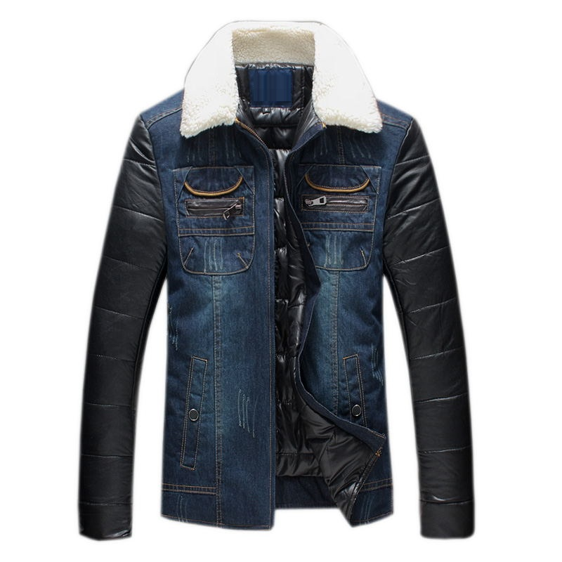 ФОТО 2016 new arrival winter high quality men's Denim fabric Down & Parkas,winter jacket men ,Plus-size M, L,XL,2XL,3XL,4XL,5XL