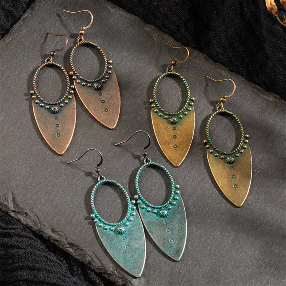 Vintage Bohemia Water Drop earrings Earrings for women Charm Antique bronze Hollow Dangle earrings 2019 Women's jewelry