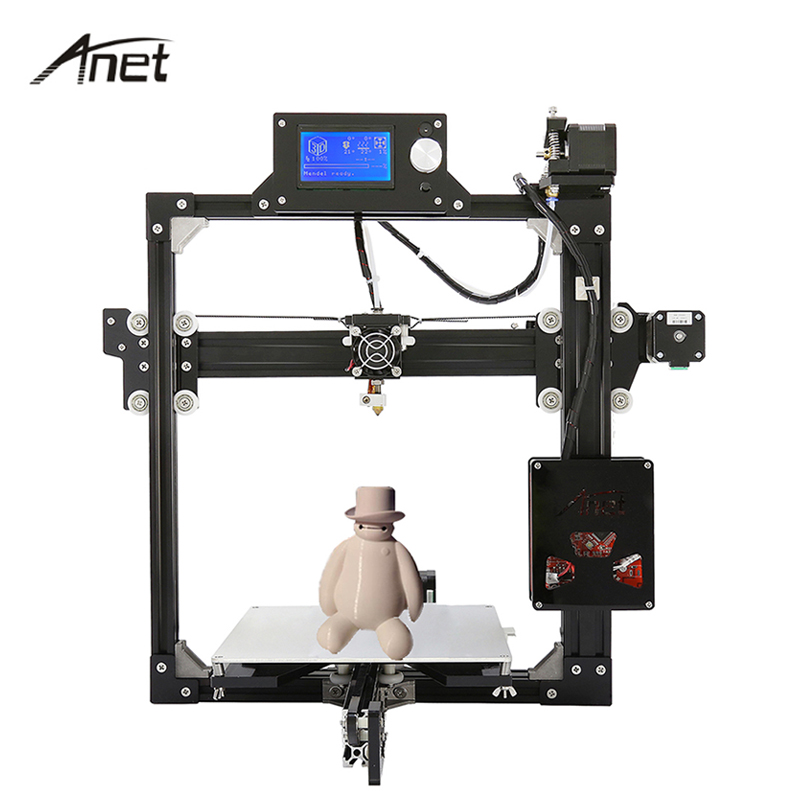 Anet A2 Reprap Prusa i3 3D Printer DIY Kit High Precision Aluminum Frame Big Print Size Desktop Printer  Gift Filament SD Card  high precision reprap prusa i3 3d printer diy kit bowden extruder easy leveling acrylic lcd free shipping sd card filament tool