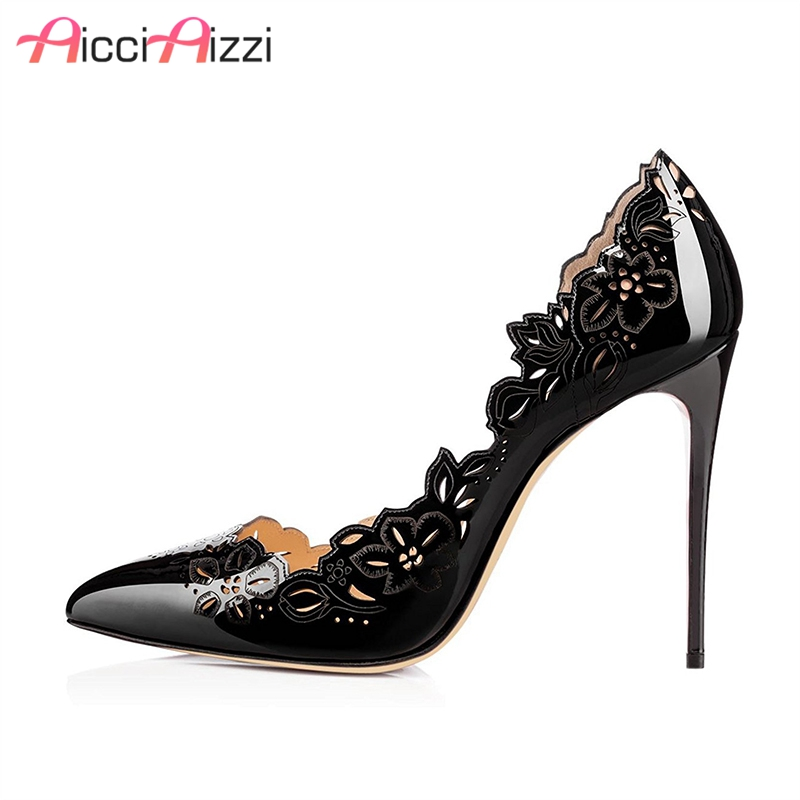 AicciAizzi Size34-45 Shoes Woman High Heels Pumps Sexy Women Shoes Lace up High heels Pointed Toe Dress Shoes Heeled Footwear the new fashion sexy high heeled pointed shoes lace up women sandals